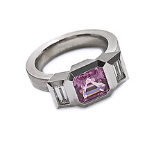 Oblique Three-Stone Ring with Pink Sapphire and Diamonds by Catherine Iskiw (Silver & Stone Ring)