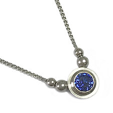 Simplicity Pendant in Platinum with Sapphire and Beads by Catherine Iskiw (Platinum & Stone Necklace)