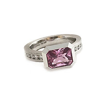 Oblique Ring in 950 Pt. with Pink Sapphire and Diamonds by Catherine Iskiw (Platinum & Stone Ring)