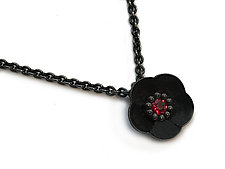 Cherry Blossom Pendant in Blackened Silver with Rubies by Catherine Iskiw (SIlver & Stone Necklace)