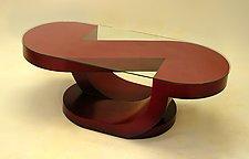 Halfnote Coffee Table by John Wilbar (Wood & Glass Coffee Table)