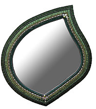 Emerald Leaf Mirror by Angie Heinrich (Mosaic Mirror)