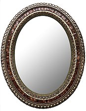 Bronze Leaf Mirror by Angie Heinrich (Mosaic Mirror)