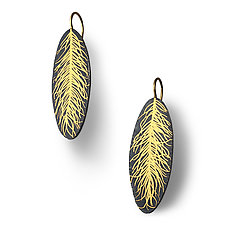 Linear Feather Earring by Edna Madera (Gold & Silver Earrings)