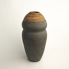 Gray Curvy Vessel by Hannie Goldgewicht (Ceramic Vases & Vessels)