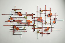 Fields by Hannie Goldgewicht (Mixed-Media Wall Sculpture)