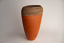 Oval Vessel in Orange by Hannie Goldgewicht (Ceramic Vessel)