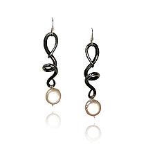 Vines & Tendrils VI by Valerie Ostenak (Steel & Pearl Earrings)