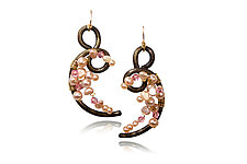 Plum Blossom Earrings by Valerie Ostenak (Steel, Stone & Pearl Earrings)