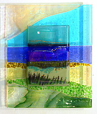 Ocean Beyond by Alice Benvie Gebhart (Art Glass Wall Sculpture)