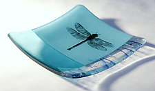 Aquamarine Dragonfly by Alice Benvie Gebhart (Art Glass Dish)