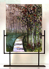 Misty Pathway by Alice Benvie Gebhart (Art Glass Sculpture)