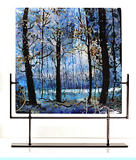 Blue Velvet Morning by Alice Benvie Gebhart (Art Glass Sculpture)
