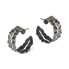 Flutter Series Blackened Frilly Hoops by Debra Adelson (Silver Earrings)