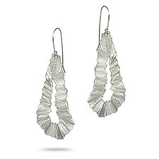 Flutter Series Long Teardrop by Debra Adelson (Silver Earrings)