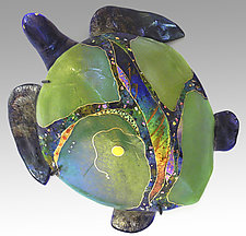 Peridot Moon Sea Turtle by Karen Ehart (Art Glass Wall Art)