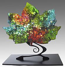 Sun-Dappled Maple Leaf on Stand by Karen Ehart (Art Glass Sculpture)