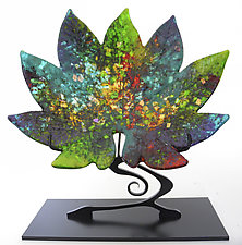 Sun Dappled Aralia Leaf on Stand by Karen Ehart (Art Glass Sculpture)