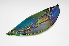 Large Boat Leaf with Green by Karen Ehart (Art Glass Platter)
