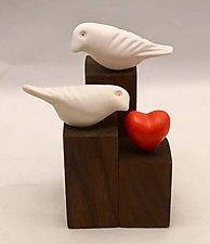Love Birds by Chris  Stiles (Ceramic & Wood Sculpture)