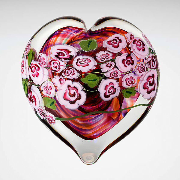 Pink Roses on Ruby Heart Paperweight