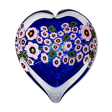 Pink Star Flower on Blue Heart Paperweight by Shawn Messenger (Art Glass Paperweight)