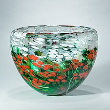 Poinsettia Crystal Bowl by Shawn Messenger (Art Glass Bowl)