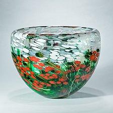 Poinsettia Crystal Bowl by Shawn Messenger (Art Glass Bowl)