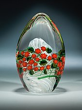 Poinsettia Egg Paperweight by Shawn Messenger (Art Glass Paperweight)