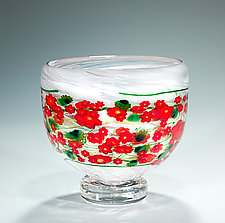Poinsettia Bowl by Shawn Messenger (Art Glass Bowl)