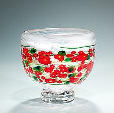 Poinsettia Bowl by Shawn Messenger (Art Glass Bowl)