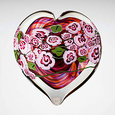 Pink Roses on Ruby Heart Paperweight by Shawn Messenger (Art Glass Paperweight)