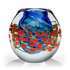 Red Roses Vase by Shawn Messenger (Art Glass Vase)