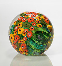 California Poppies Paperweight by Shawn Messenger (Art Glass Paperweight)
