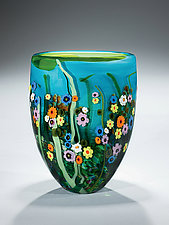 Garden Series Vase in Turquoise and Lime by Shawn Messenger (Art Glass Vase)