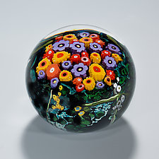 Poppy, Violet & Mango Paperweight by Shawn Messenger (Art Glass Paperweight)