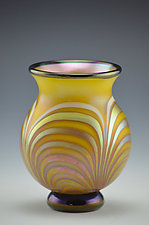 Yellow and Gold Feather Luster Vase by Donald  Carlson (Art Glass Vase)