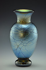 Blue Lustre Footed Web Vase by Donald  Carlson (Art Glass Vase)