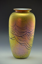 Gold Lustre Web Vase by Donald  Carlson (Art Glass Vase)