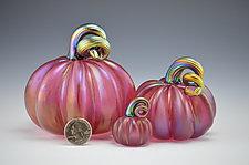 Three Iridescent Pink Pumpkins by Donald  Carlson (Art Glass Sculpture)