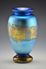 Blue Lustre Footed Gold Vase by Donald  Carlson (Glass Vase)