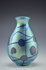 Private Collection Blue Lustre Vase by Donald  Carlson (Art Glass Vase)
