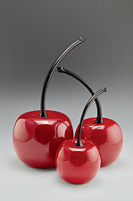 Short-Stemmed Cherries by Donald  Carlson (Art Glass Sculpture)