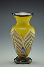 Yellow Footed Feather Pattern Vase by Donald  Carlson (Art Glass Vase)