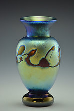 Miniature Blue Luster Footed Vase by Donald  Carlson (Art Glass Vase)