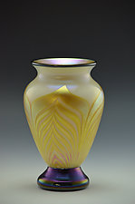 White and Gold Footed Vase by Donald  Carlson (Art Glass Vase)