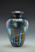 Private Collection Black and Silver Blue Vase by Donald  Carlson (Art Glass Vase)