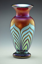 Red and Silver Blue Lustre Footed Vase by Donald  Carlson (Glass Vases & Vessels)