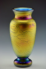 Gold Lustre Footed Spider Vase II by Donald  Carlson (Art Glass Vase)