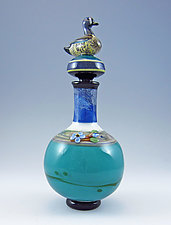 Teal-Winged Duck Perfume by Chris Pantos (Art Glass Perfume Bottle)